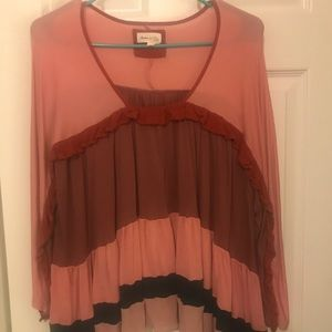 Anthro flowy long sleeve top! Worn once!